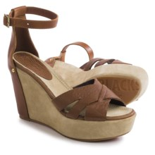 Blackstone FL55 Wedge Sandals - Leather (For Women) in Robtan/Bark - Closeouts