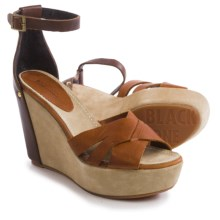 Blackstone FL55 Wedge Sandals - Leather (For Women) in Seal/Ember - Closeouts