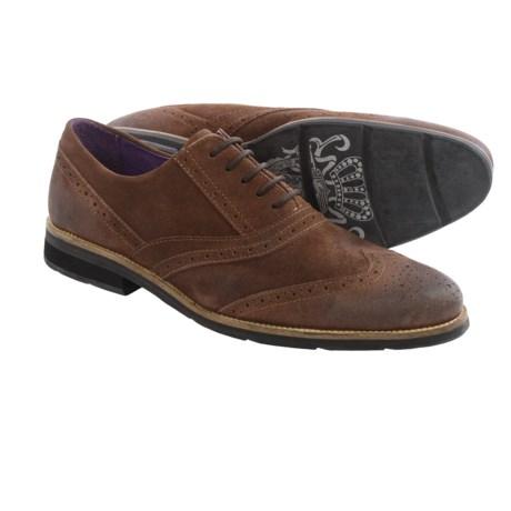 Blackstone SCM002 Wingtip Leather Shoes (For Men) in Dark Brown Suede