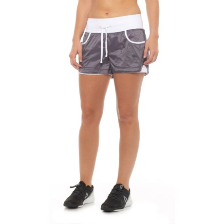 Blanc Noir Firefly Lounge Shorts - Built-In Lining (For Women) in Grey/White