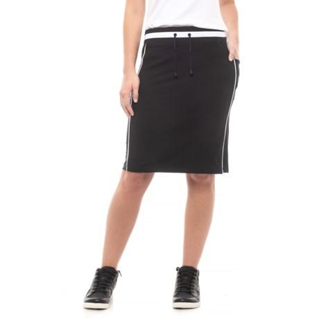 Blanc Noir Knee-Length Lounge Skirt (For Women) in Black/Black