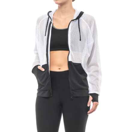 Blanc Noir Mesh Pool Side Jacket (For Women) in White - Closeouts