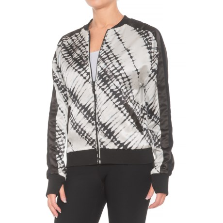 Blanc Noir Reversible Silk Bomber Jacket (For Women) in Batik/Black/Black