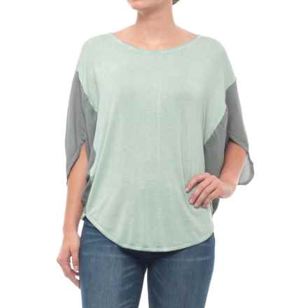 Blanc Noir Sunset Shirt - 3/4 Sleeve (For Women) in Sage/Grey - Closeouts