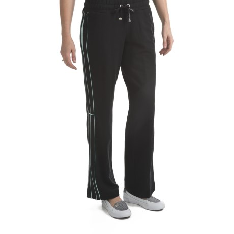 Blanche Fleur French Terry Drawstring Pants - Contrast Trim (For Women) in Black