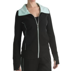 Blanche Fleur French Terry Jacket - Contrast Trim (For Women) in Black