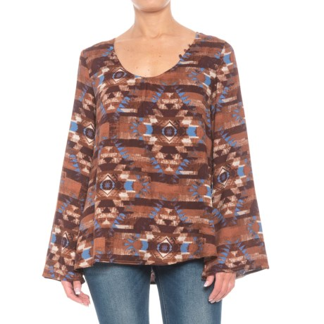 Image of Blanket Print Peasant Top - Long Sleeve (For Women)