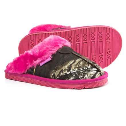 Blazin Roxx Slide Fleece Slippers (For Girls) in Mossy Oak/Hot Pink - Closeouts