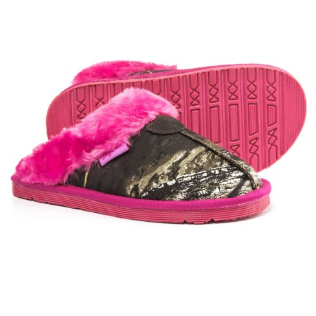 Blazin Roxx Slide Fleece Slippers (For Girls) in Mossy Oak/Hot Pink