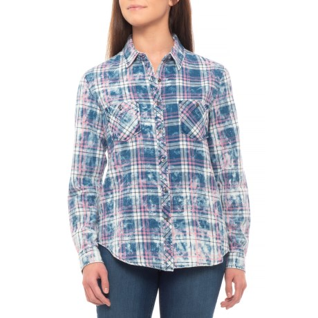 Image of Bleach-Washed Indigo-Dyed Plaid Shirt - Long Sleeve (For Women)
