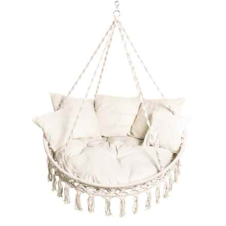 White Hanging Macrame Hammock Chair with Pillows in White - Closeouts