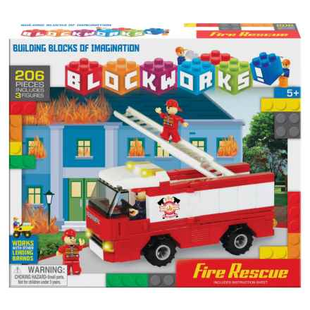 BLOCKWORKS Large Fire Truck Set in See Photo - Closeouts