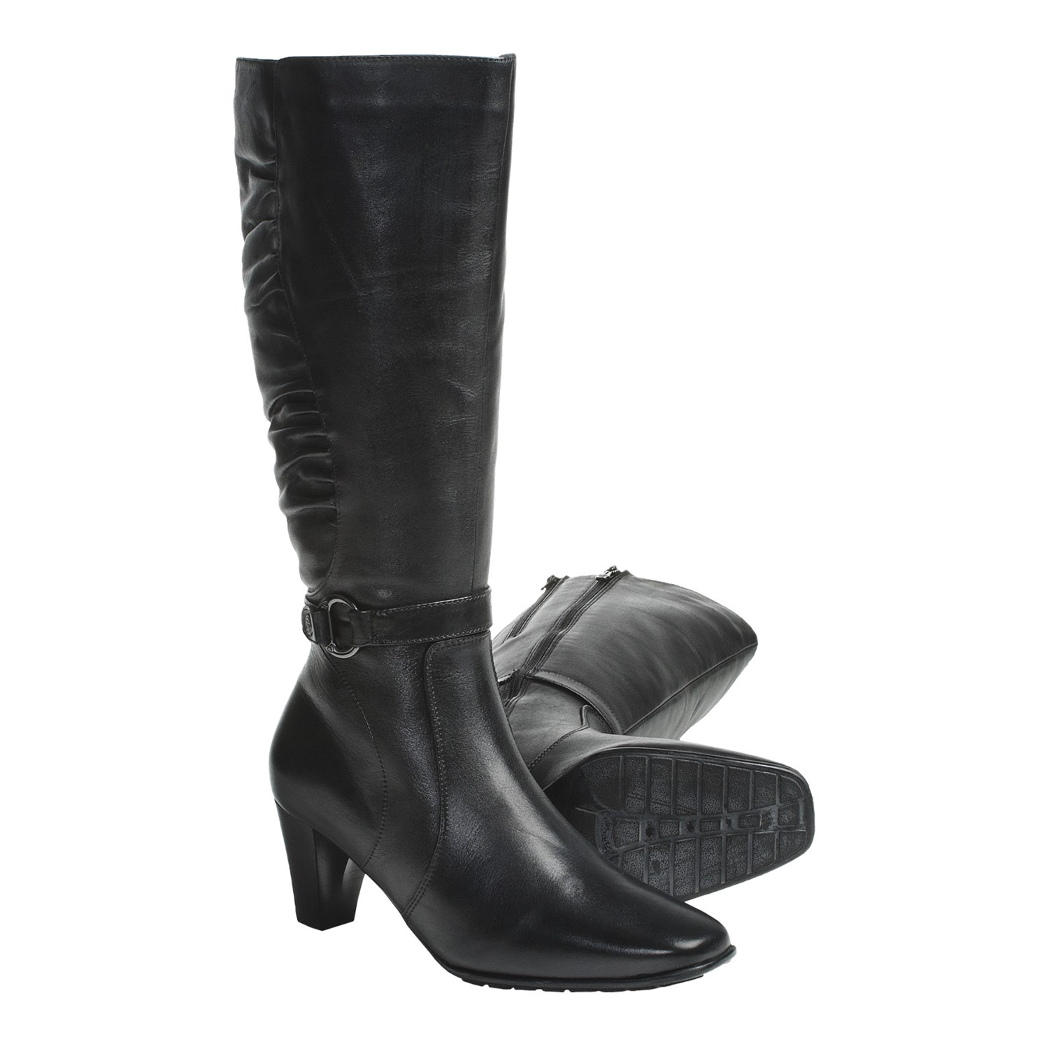 Original Flat Black Leather Boots For Women Women Black Leather Boots Stefania