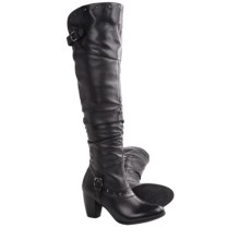 Blondo Penelope Tall Leather Boots - Foldable Top Cuff (For Women) in Black - Closeouts
