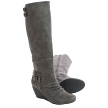 Blowfish Brooven Tall Wedge Boots (For Women) in Grey Old Saddle - Closeouts