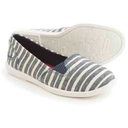 Blowfish Gillie Slip-On Shoes (For Little and Big Girls) in Navy Caicos Stripe Linen - Closeouts