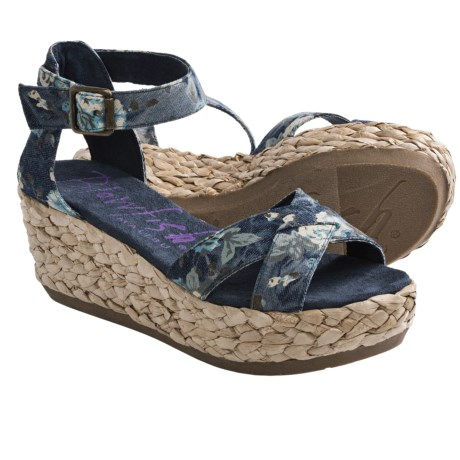 Blowfish Gypsy Sandals - Wedge (For Women) in Blue Denim Floral