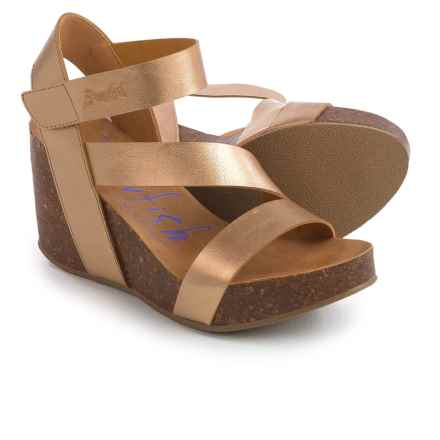 Blowfish Hapuku Wedge Sandals - Vegan Leather (For Women) in Pearlized Gold - Overstock