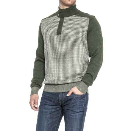 Blue Alpaca Houndstooth Sweater - Zip Neck (For Men) in Loden - Closeouts