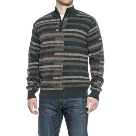Blue Alpaca Vertical Bar Sweater - Zip Neck (For Men) in Charcoal - Closeouts