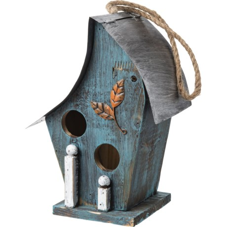 Image of Blue Artful Wooden Birdhouse