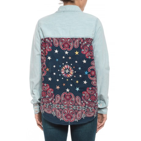 Image of Blue Bandana Bandit Button-Down Shirt - Long Sleeve (For Women)