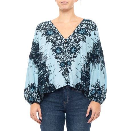 Image of Blue Birds of a Feather Floral Shirt - V-Neck, 3/4 Sleeve (For Women)