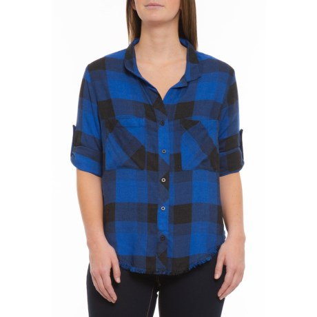 Image of Blue-Black Plaid Fray Hem Shirt - Long Sleeve (For Women)