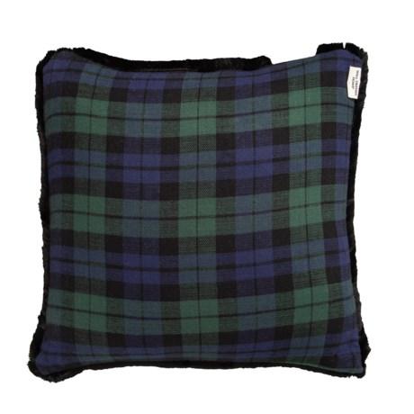 Image of Blue Blackwatch Faux- Fur Trim Plaid Pillow - 20x20?