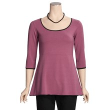 Blue Canoe Pam's New Shirt - Stretch Organic Cotton, 3/4 Sleeve (For Women) in Primrose/Black - Closeouts