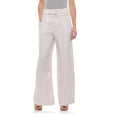Image of Blue Combo Yarn Dyed Tailored Linen Pants (For Women)