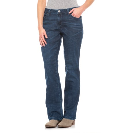 Image of Blue Denim Western Aura Jeans - Bootcut (For Women)