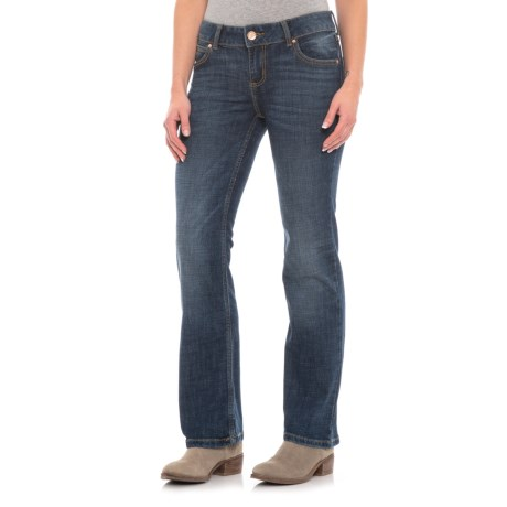 Image of Blue Denim Western Retro Jeans - Bootcut, Mid-Rise (For Women)