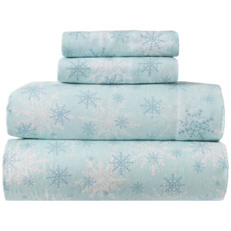 Image of Blue Ice Crystal Cotton Flannel Sheet Set - Queen