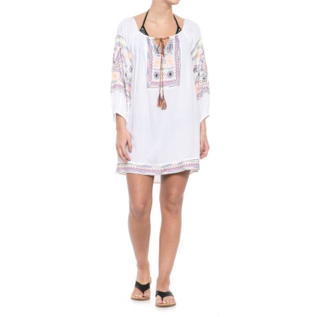 Blue Island Embroidered Swimsuit Cover-Up - Long Sleeve (For Women)