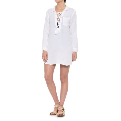 Blue Island Lace-Up Swimsuit Cover-Up - Long Sleeve (For Women) in White