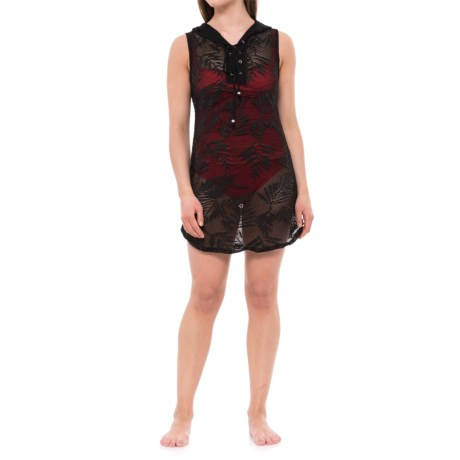 Blue Island Leaf Print Hooded Cover-Up - Sleeveless (For Women) in Black