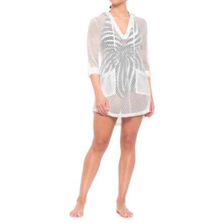d6263112c2 Blue Island Roll Sleeve Hooded Cover-Up - Long Sleeve (For Women) in