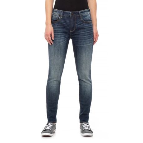 Image of Blue Jackie Basic Stem Hem Skinny Jeans (For Women)