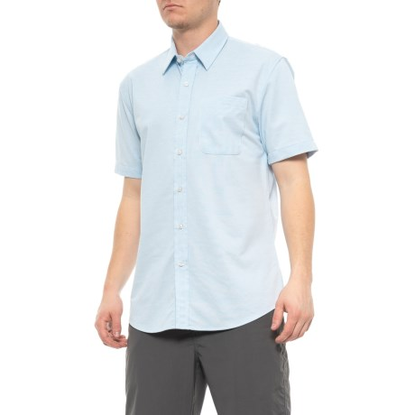Image of Blue Jersey Knit Shirt - UPF, Short Sleeve (For Men)