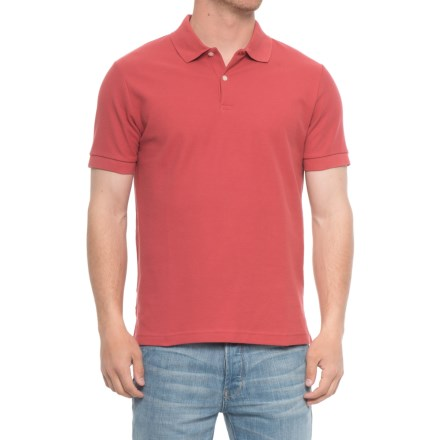 0b97e448609 Blue Pique Slim Fit Polo Shirt - Short Sleeve (For Men) in Barn Red