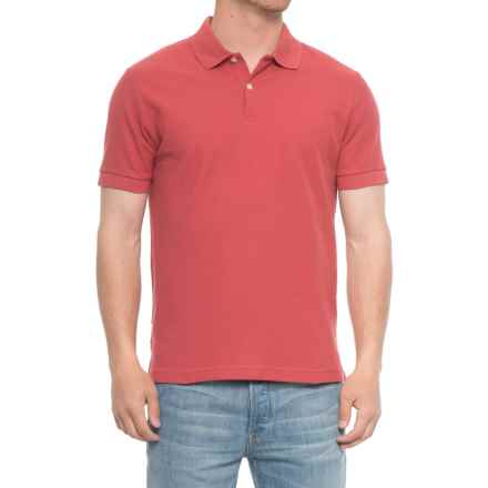 Blue Pique Slim Fit Polo Shirt - Short Sleeve (For Men) in Barn Red - Overstock