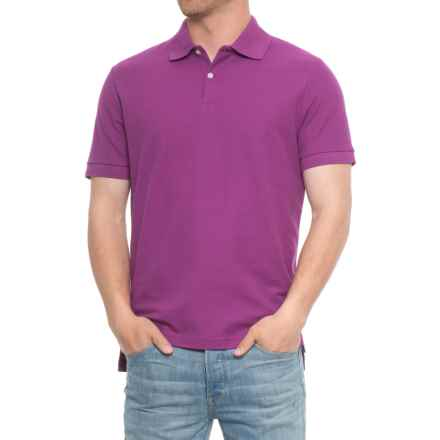 Blue Pique Slim Fit Polo Shirt - Short Sleeve (For Men) in Cerise - Overstock