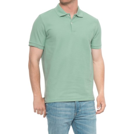 Blue Pique Slim Fit Polo Shirt - Short Sleeve (For Men) in Soft Green