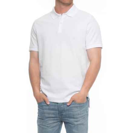 Blue Pique Slim Fit Polo Shirt - Short Sleeve (For Men) in White - Overstock