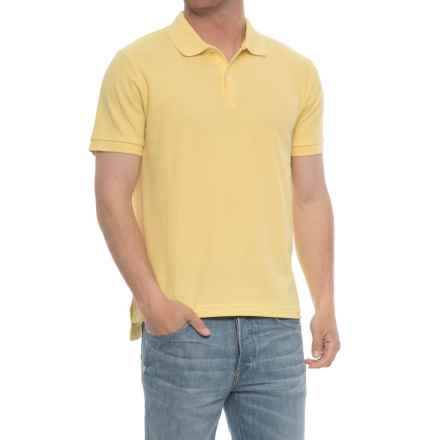 Blue Pique Slim Fit Polo Shirt - Short Sleeve (For Men) in Yellow - Overstock