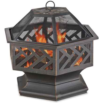 "Blue Rhino 27"" Hexagon-Shaped Outdoor Fire Pit in Brushed Metal - Closeouts"