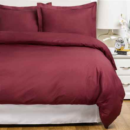 Blue Ridge Home Fashions Cotton Duvet Cover Set - Full-Queen, 230 Thread Count in Burgundy - Closeouts