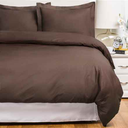 Blue Ridge Home Fashions Cotton Duvet Cover Set - Full-Queen, 230 Thread Count in Chocolate - Closeouts