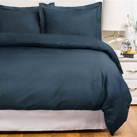 Blue Ridge Home Fashions Cotton Duvet Cover Set - King, 230 Thread Count in Navy - Closeouts